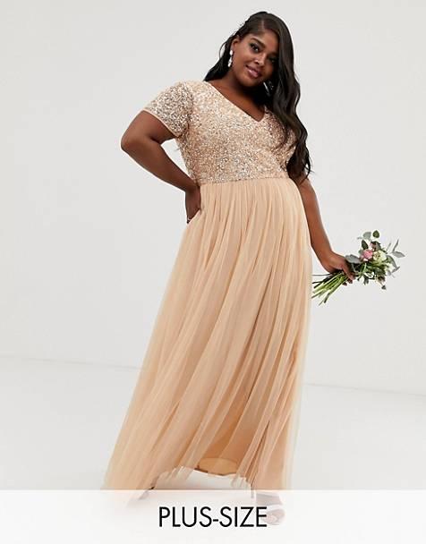 edc0a0501d Vestido largo de dama de honor con cuello en V y lentejuelas delicadas en  melocotón suave