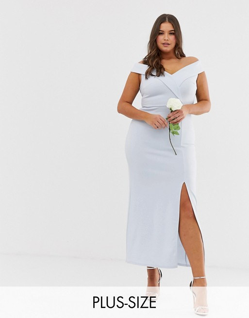 Imagen 1 de Vestido largo de dama de honor con escote Bardot de Club L Plus