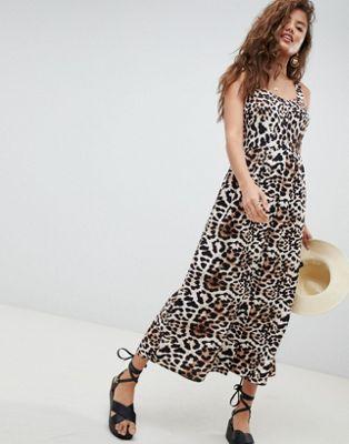 Vestido largo de lino con diseño abotonado y estampado de leopardo de ASOS DESIGN