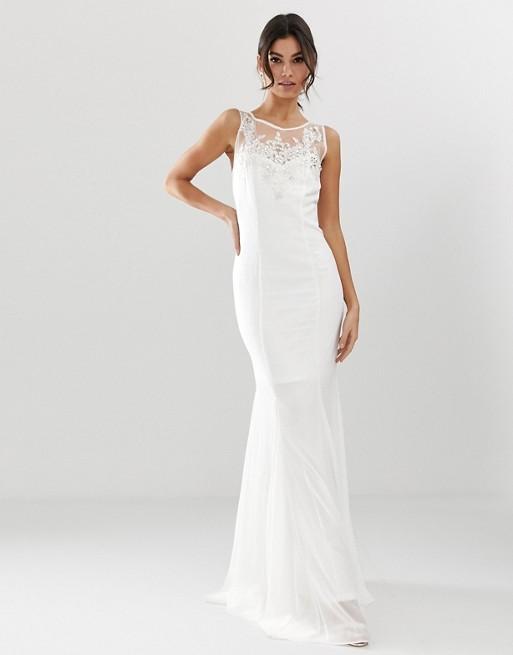 Vestido largo de novia con cola de pez y detalle adornado de City Goddess