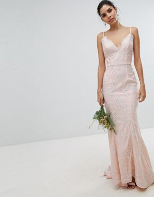 Vestido largo de novia de encaje con bajo cola de pez en color nude Premium de Chi Chi London