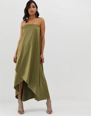 Vestido largo de satén palabta de honor de ASOS DESIGN