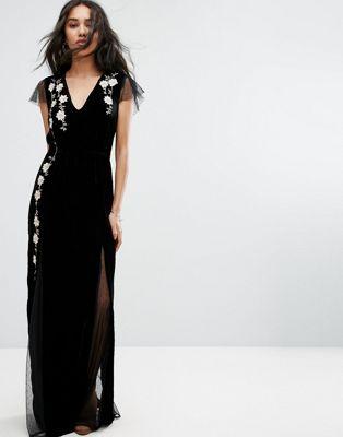 Vestido largo elegante de terciopelo de Rahi Cali
