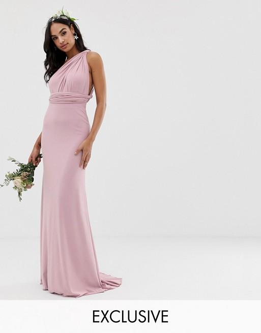 Vestido largo multiposición de dama de honor en rosa exclusivo de TFNC