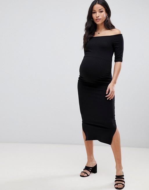 Asos Midi Con Premamá Vestido Detalle Maternity Ajustado De Canalé rRTaErwxq