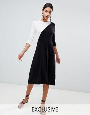 Vestido midi con diseño colour block de Boohoo