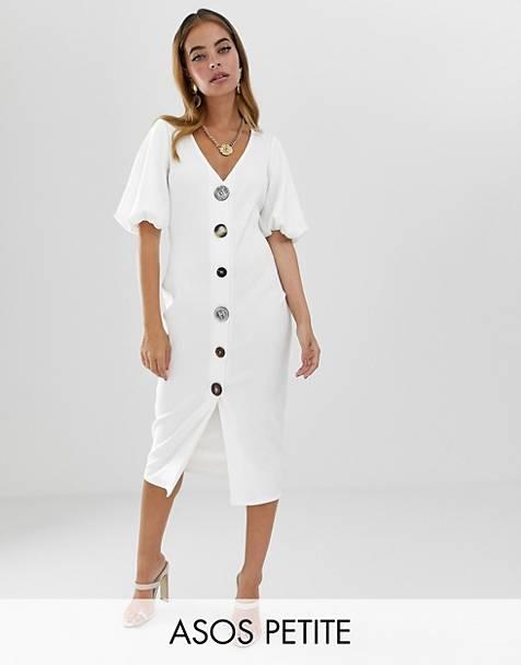 Vestido midi de botones con diseño de canalé ajustado y manga abullonada de ASOS  DESIGN Petite 657d95fe4050