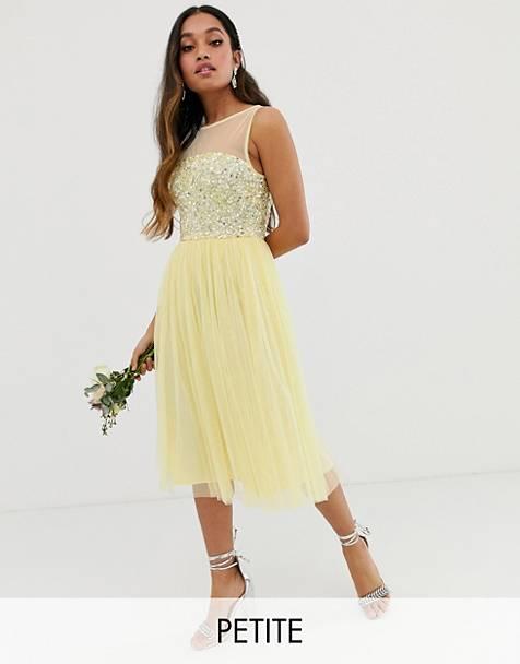 77d9681de43 Vestido midi de dama de honor en color limón con lentejuelas delicadas y  top de malla