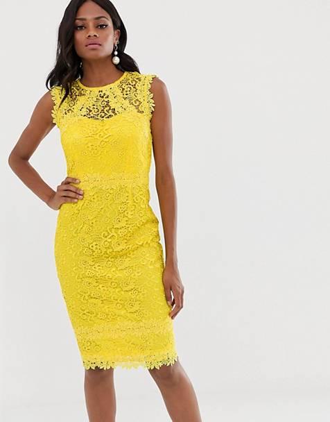 2c30a2b38 Vestido midi de encaje con ribete de croché en color limón de Paper Dolls