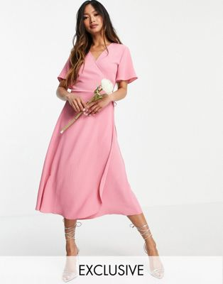 Vila chiffon midi dress with tiered skirt detail in pink - ASOS Price Checker