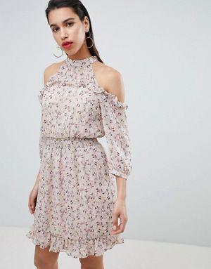 0a3668577541 Vila cold shoulder ruffle mini dress in pink