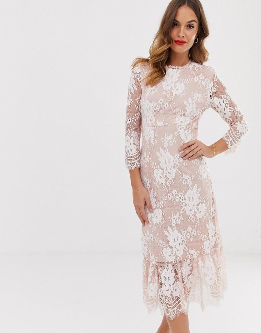 Vila Contrast Lace Midi Dress-Pink