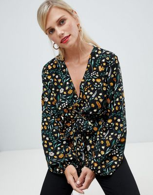 Image 1 of Vila Floral Wrap Blouse