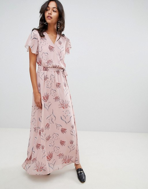 Image 1 of Vila Floral Wrap Maxi Dress