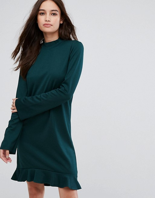 Vila frill hem long sleeve mini dress in green