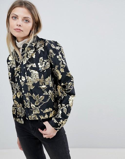 Image 1 of Vila Gold Floral Jacquard Jacket
