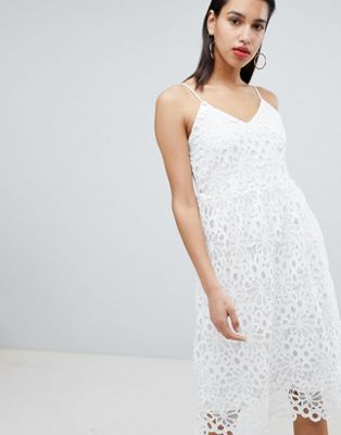 Image 1 of Vila lace cami midi dress in white
