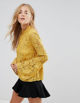 Vila Lace Flared Sleeve Top