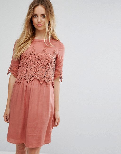 Image 1 of Vila Lace Overlay Dress