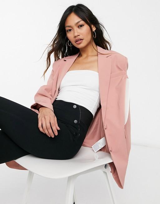 Vila longline oversized tailored blazer in light pink
