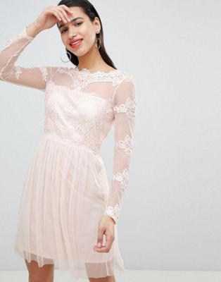 Vila Mesh Dress With Lace Inserts