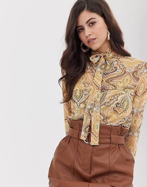 Vila paisley blouse with tie neck detail