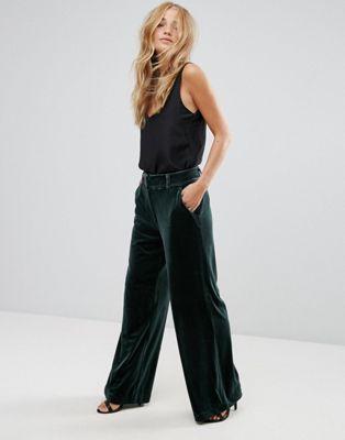 Vila - Pantalon coupe large en velours