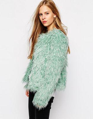Image 1 of Vila Shaggy Faux Fur Jacket