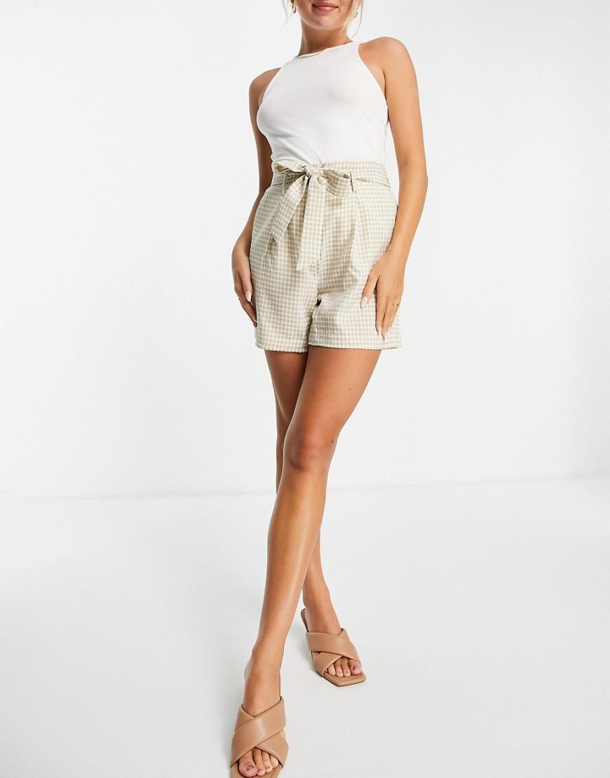 Vila - Skræddersyede gingham-shorts med bindebånd i taljen-Multifarvet