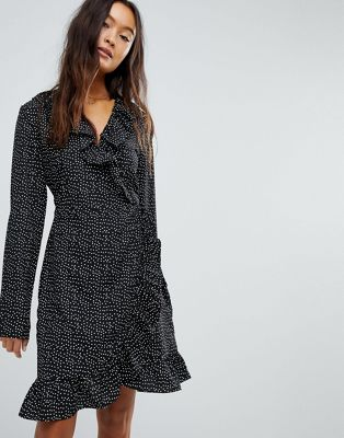 Image 1 of Vila Spotty Wrap Dress