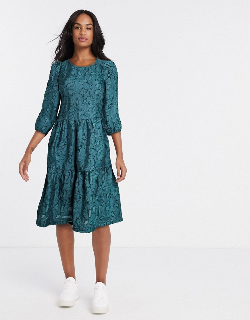 Vila textured oversized smock dress in green - Vila online sale