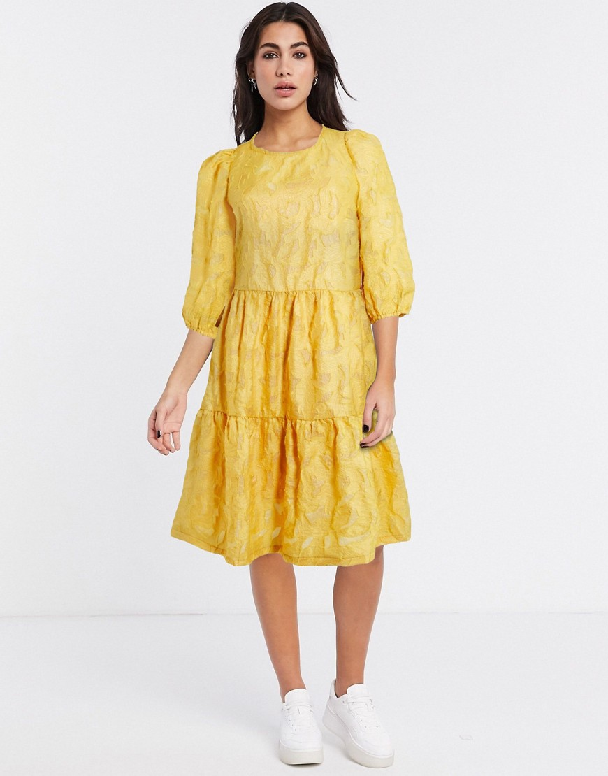 Vila textured oversized smock dress in yellow - Vila online sale