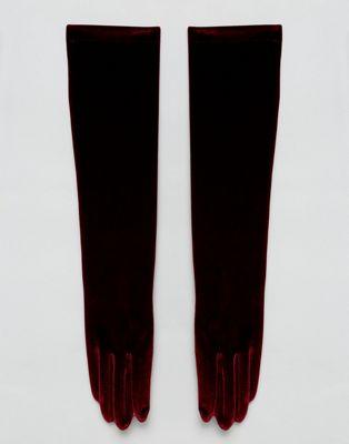 Vincent Pradier – Vinröda långa sammetshandskar