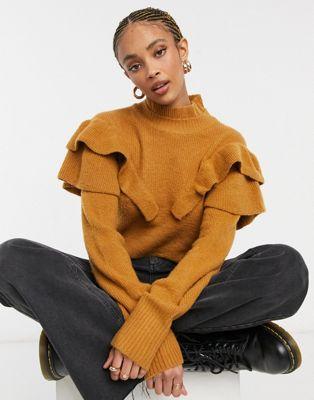 Violet Romance – Pullover mit Rüschendetail in Camel-Bronze