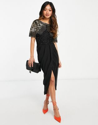 Virgos Lounge Plus puff sleeve embellished maxi dress with balloon sleeves in rose gold - ASOS Price Checker