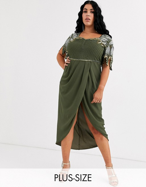 Virgos Lounge Plus – Drapiertes Midikleid in Khaki mit Schulterdetail