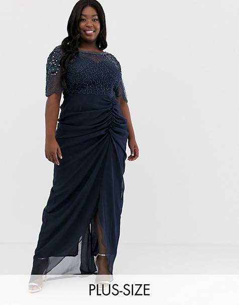 Virgos Lounge Plus embellished maxi dress with ruched skirt detail in navy