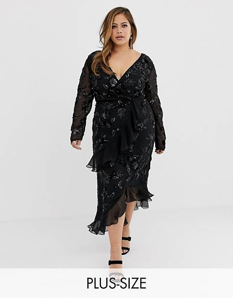 Virgos Lounge Plus floral embellished wrap front ruffle asymmetric midi dress in black