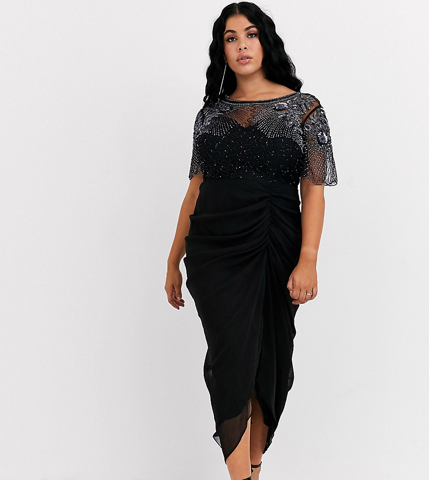 Photo of Virgos Lounge Plus ruched side detail with sheer overlay midi dress in black- shop Virgos Lounge Plus dresses sales