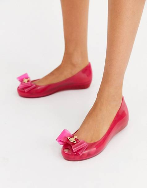 Vivienne Westwood for Melissa bow trim flat shoes in pink