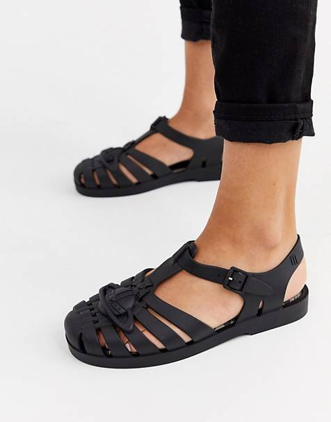 Vivienne Westwood for Melissa logo trim jelly sandals in black