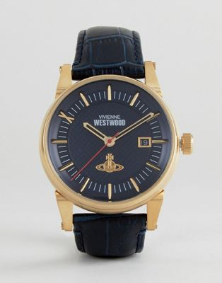 Vivienne Westwood VV065BLBL Leather Watch In Navy