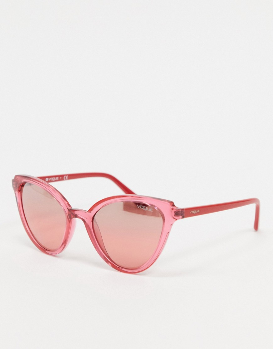 Sunglasses by Versace Add some shades Cat-eye frames Moulded nose pads for added comfort Pink-tinted lenses Slim arms with curved temple tips for a secure fit Good UV protection