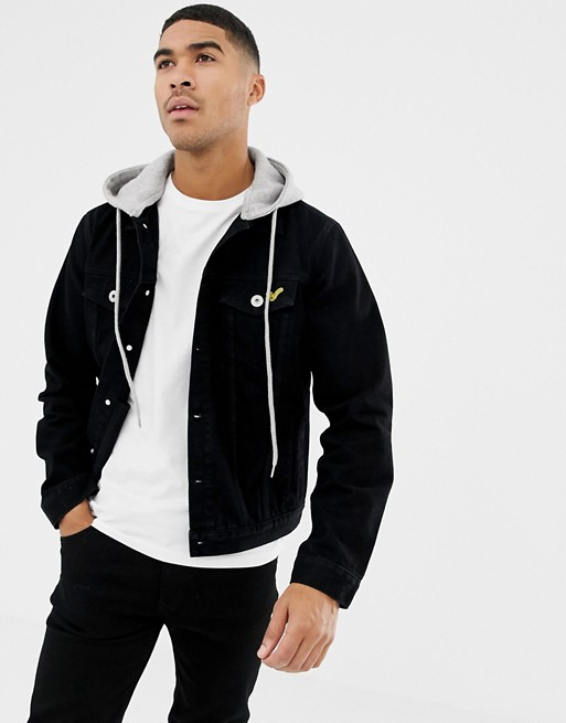 Voi Jeans Denim Jacket With Hood In Washed Black