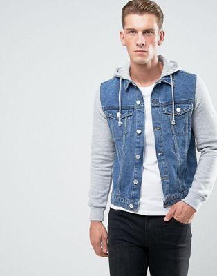 Выбеленная джинсовая куртка с трикотажными рукавами New Look