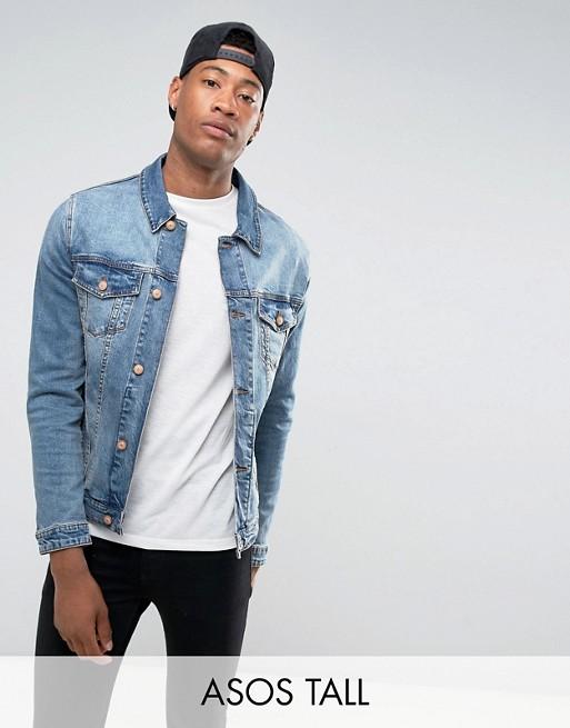 Изображение 1 из Выбеленная джинсовая куртка зауженного кроя ASOS DESIGN Tall