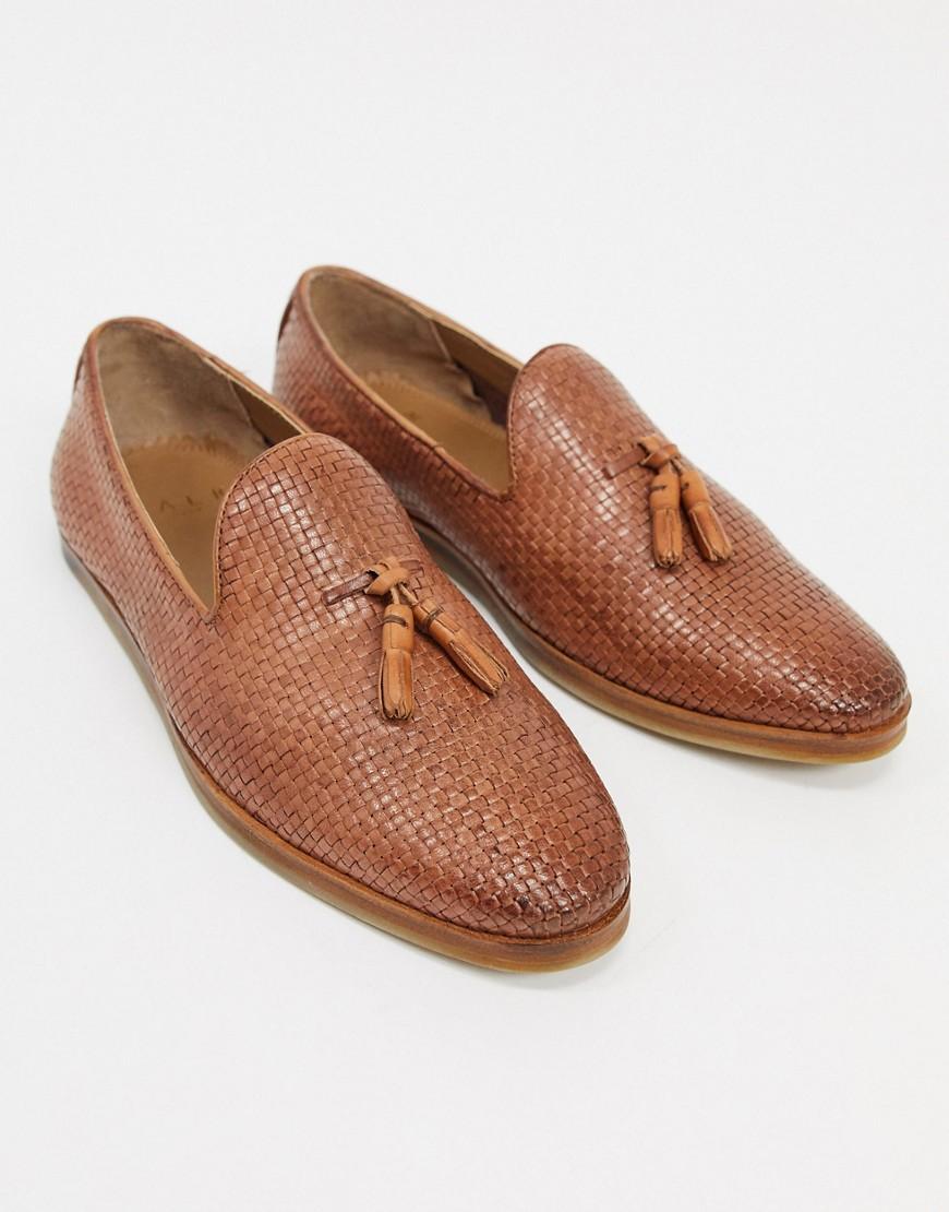 Scarpa elegante Cuoio uomo Mocassini in pelle intrecciata con nappe cuoio - Walk London - Chris moda abbigliamento - immagine 0