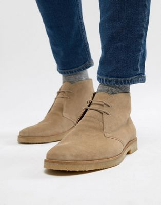 Walk London Hornchurch Suede Desert Boots In Stone