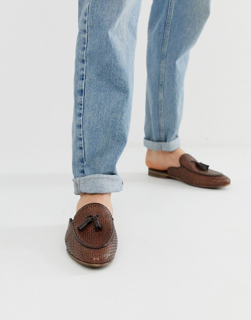 WALK London Jacob woven slip on loafers in tan with tassel