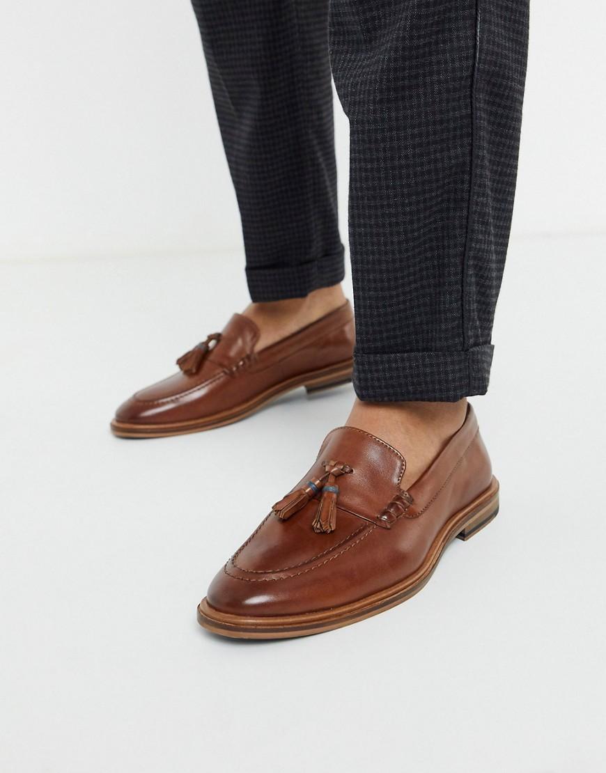 Walk London - West - Gyldenbrune loafers i læder med kvast-Tan